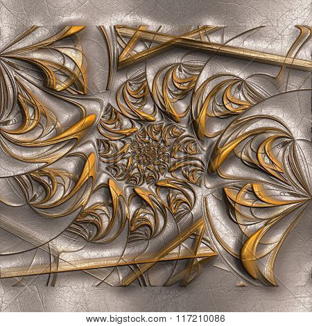 Background With Embossed Pattern On Leather