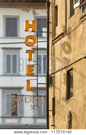 Florence, Italy - September 15, 2015: Outdoor hotel sign on the building in Florence, Italy