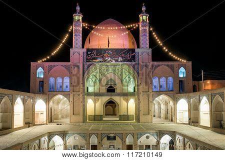 Kashan, Iran - December 8, 2015: Agha Bozorg Mosque in Kashan, Iran