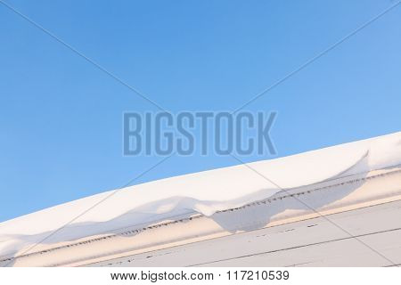 Gutter and roof full of snow