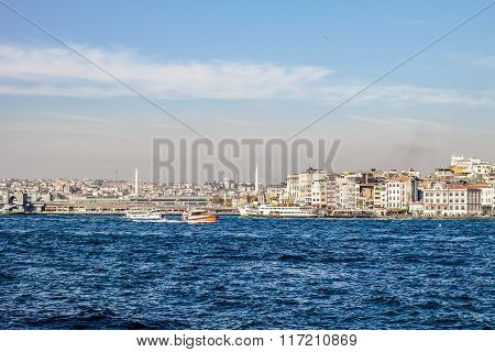 Istanbul view from the Bosporus. Galata bridge.