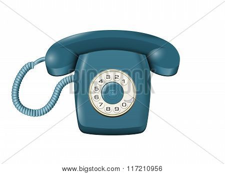 Classic Land Line Rotary Telephone Isolated On White Vector