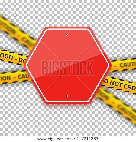 Vector Road Red Stop Sign with Yellow Police Strip. Realistic Ve