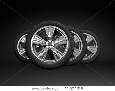 Set four tyres. 3d rendering