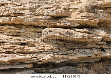 Texture Of Sandstone Rocks Exposed To Erosion And Destruction