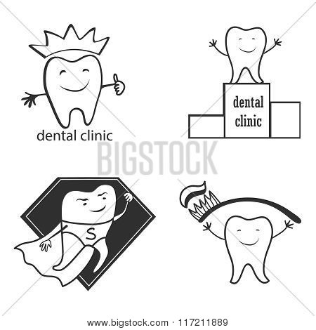 Dental symbol collection. Clean and bright designs.