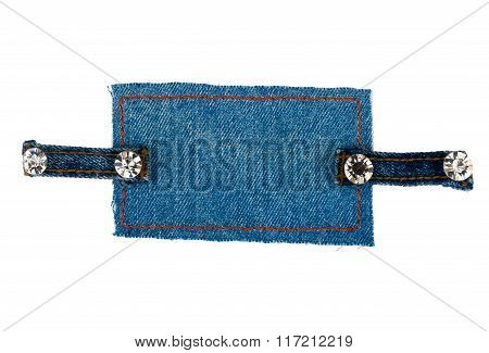Frame With Two Straps Jeans And Rhinestones, Isolated On White Background