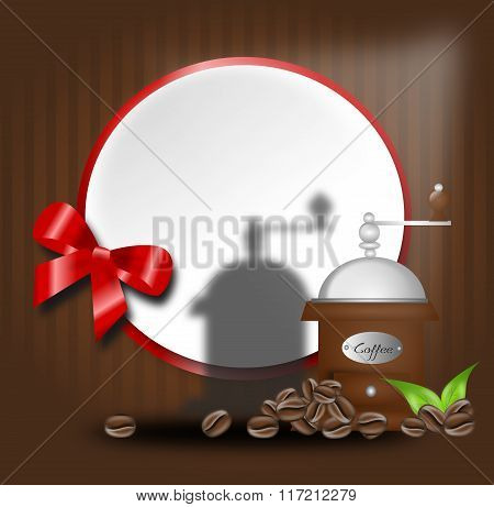 Coffee Background With Coffee Beans And Grinder