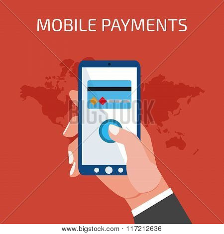 Mobile payment concept. Man holding tablet. Flat style