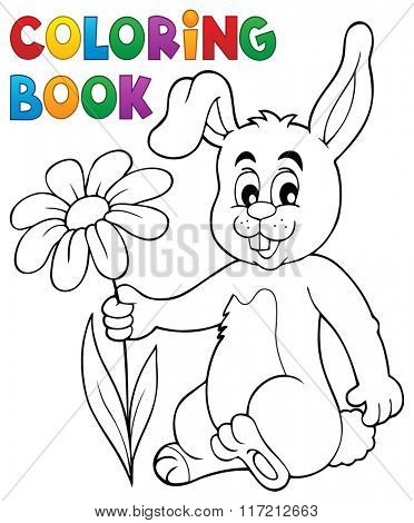 Coloring book Easter bunny with flower - eps10 vector illustration.