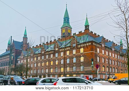 View of Copenhagen City Hall in winter. It is the headquarters of the municipal council. The building is situated on The City Hall Square in central Copenhagen Denmark. It is in use as the city court