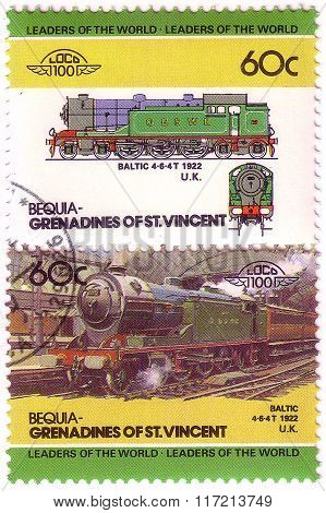Bequia - Circa 1985: A Stamp Printed In Grenadines Of St. Vincent Shows Baltic Train 4-6-4T, 1922 U.