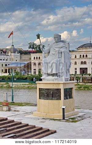 statue of Justinian in city center of Skopje, Macedonia