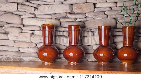 Four beautiful ceramic glazed vases.