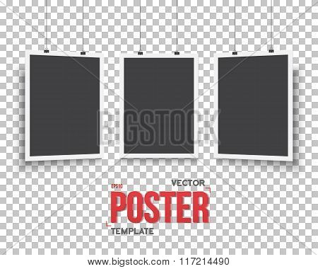Vector Poster Mockup Set. Realistic Vector EPS10 Paper Black Pos