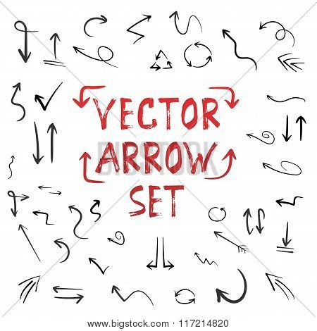 Handdrawn Vector Handmade Arrow Set Isolated on White Background