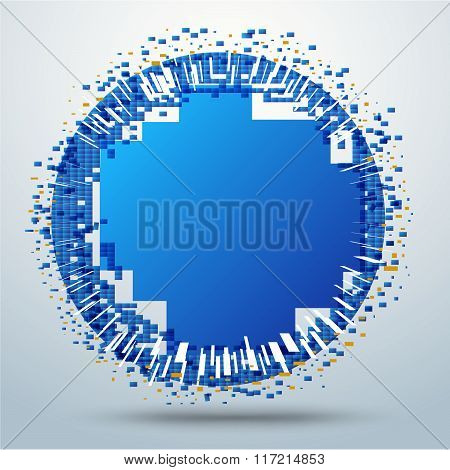 Circle Pixel Movement. Digital Circle Movement. Vector Stock.