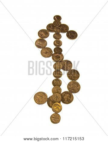 dollar sign from the coins on white  background