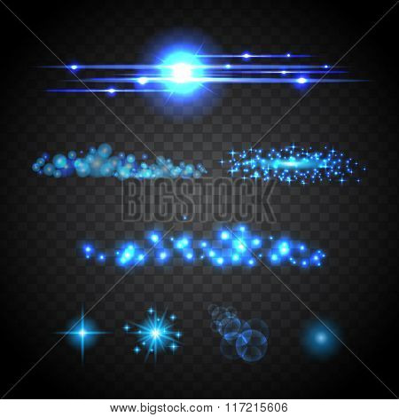 Lens Flare Set. Shining  Light Collection. Vector Illustration Eps 10