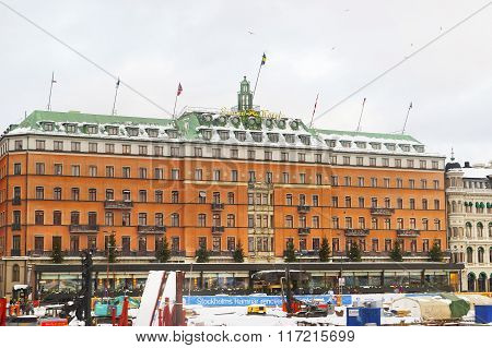 STOCKHOLM, SWEDEN - JANUARY 5, 2011: Grand Hotel in winter Gamla Stan of Stockholm. Stockholm is the capital of Sweden and the most populous city in the Nordic region.
