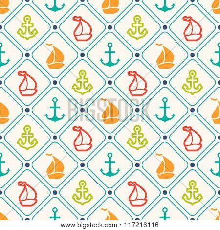 Seamless vector pattern of anchor, sailboat shape and line