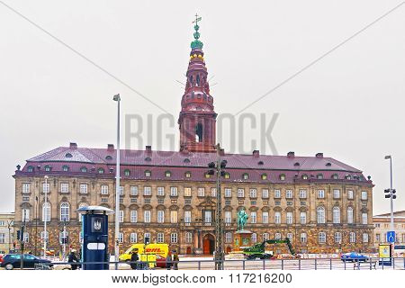 COPENHAGEN DENMARK - JANUARY 5 2011: View of Christiansborg Palace in Copenhagen in winter. Christiansborg Palace is a palace and government building on Slotsholmen in central Copenhagen Denmark.
