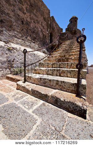Step Arrecife  Drawbridge  Lanzarote    Sentry Tower And Door  In Teguise