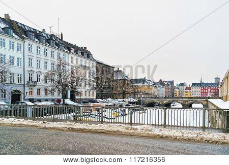 Waterfront And Bridges In Copenhagen Of Denmark In Winter