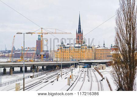 Winter Riddarholmen In Gamla Stan In Stockholm