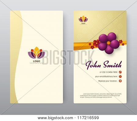 Business Card With Purple Floral Template Design. Vector Illustration.