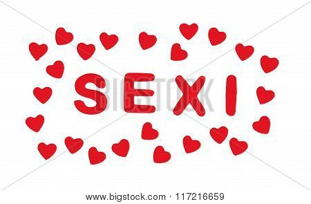 Red Title Sexi With Hearts On The White Background, Valentine's Day