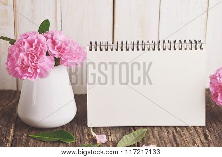 Blank Desk Calendar With Pink Carnation Flower
