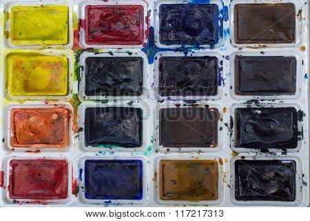Colorful Watercolor In The Box Closeup