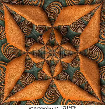 Background With Embossed Star On Leather