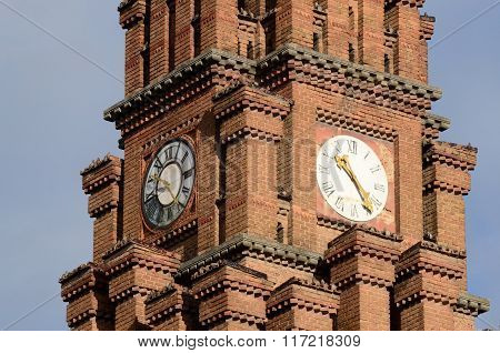 Clock At Psalmist's School Tower,Architectural Archiepiscopal Residence Complex,chernivtsi,Ukraine