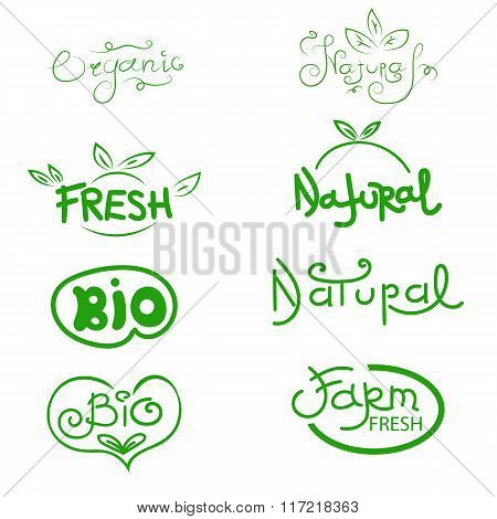 Organic, Natural, Bio And Farm Fresh. Label And Icon Set For Organic And Natural Food Eps 10