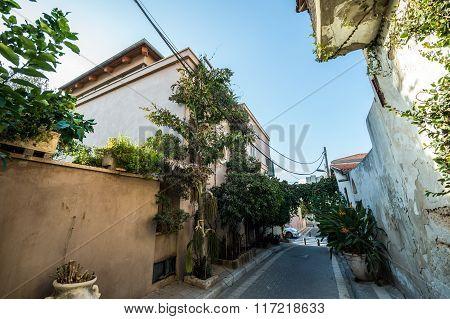 alley in Neve Tzedek neighborhood in Tel Aviv Israel