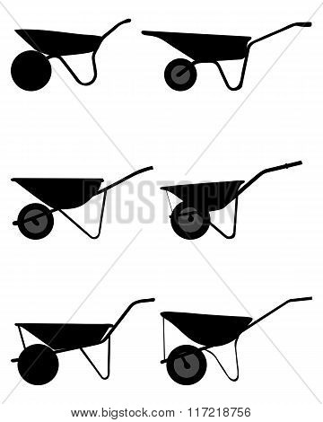 silhouettes of wheelbarrows