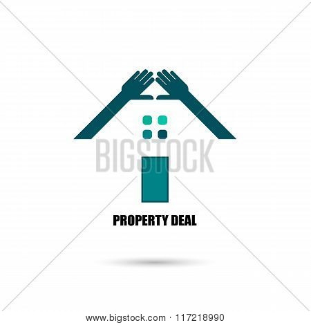 Hand And Real Estate Icons And Design Elements.colorful Real Estate, City And Skyline Icons.