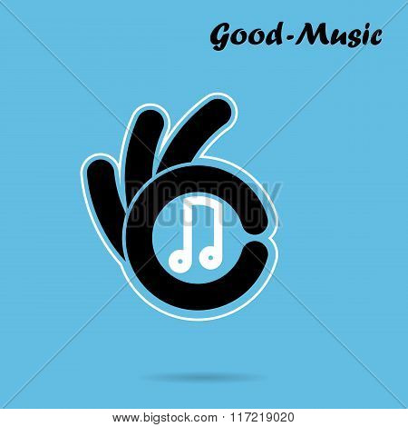 Creative Hand Icon Abstract Logo Design Vector Template.music And Restaurant Sign.hand Ok Symbol Ico