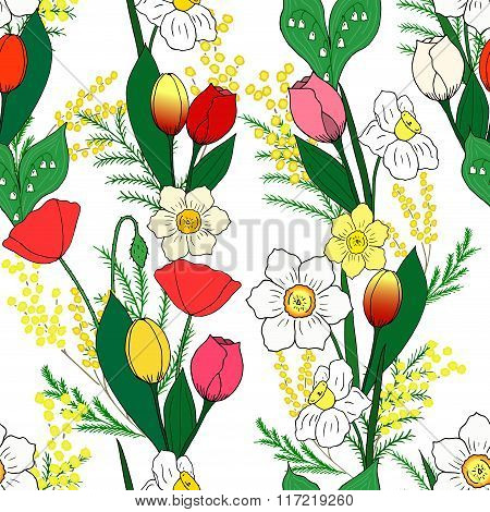 Seamless pattern with hand-drawn spring flowers.