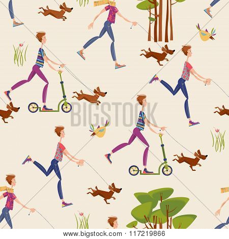 A Man On A Scooter Walking A Dog In A Park. Seamless Background Pattern.