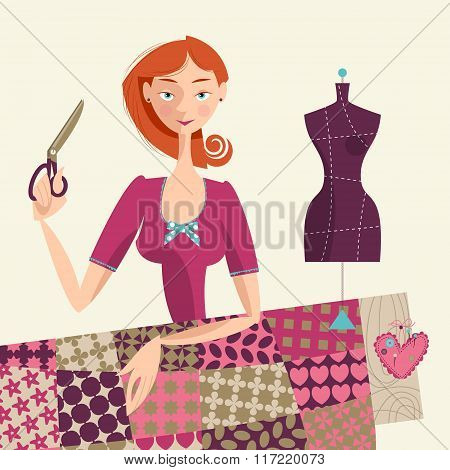 Seamstress Holding A Scissors. Sewing Workshop.