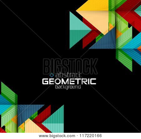 Vector color geometric shapes on black background