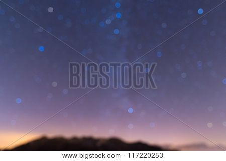 Defocused Milky Way, Starry Sky And Mountain Backgrounds