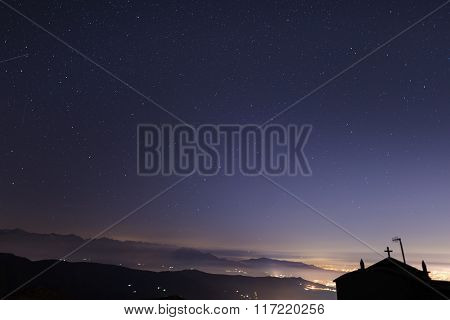Starry Sky From The Alps, Polar Star And Ursa Major