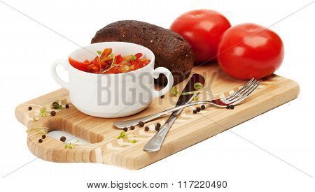 Letcho, Tomatoes, Black Bread On A Cutting Board