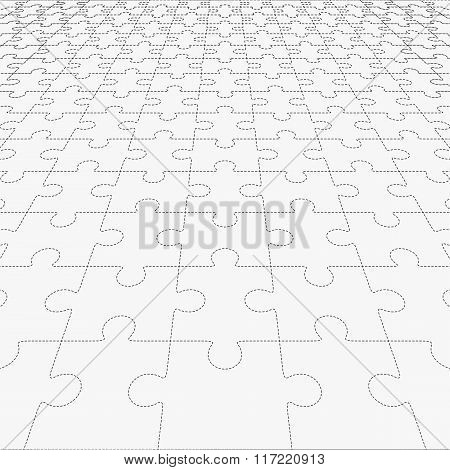 Jigsaw Puzzle Blank In Perspective. Vector Illustration