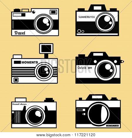 Photocameras vector set