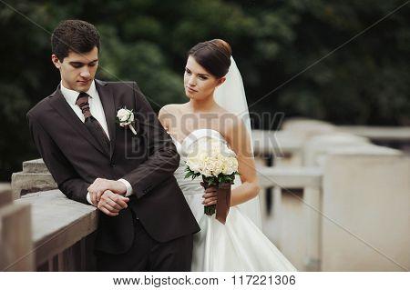 elegant stylish young couple beautiful bride and groom embracing